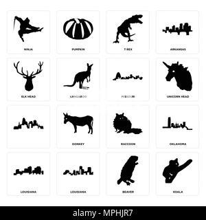 16 Einfache editierbare Ikonen wie Koala, Biber, Louisiana, Oklahoma, Ninja, Elch Kopf,, Missouri für mobile verwendet werden, die Web-UI - Stockfoto