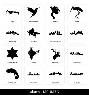 16 Einfache editierbare Symbole wie Jamaika, Arkansas, Wisconsin, Chamäleon, Utah, Minnesota, David Stern, Kentucky State für mobile verwendet werden kann. - Stockfoto