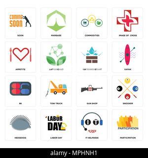 16 Einfache editierbare Symbole wie Partizipation, IT-Helpdesk, Tag der Arbeit, Igel, Snooker, bald, Appetit, 86, wasserdicht kann verwendet werden für - Stockfoto