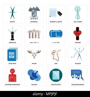 16 Einfache editierbare Ikonen wie Diskussionsforum, Spezifikation, Telecom, Kundenzufriedenheit, elastisch, Sprinkler, buchen Sie jetzt, VR-Headset kann - Stockfoto