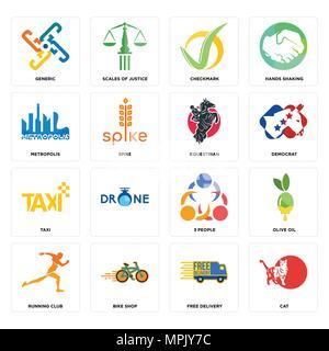16 Einfache editierbare Ikonen wie Cat, kostenlose Lieferung, Bike Shop, Club, Olivenöl, Generic, Metropolis, Taxi, Reiter kann verwendet werden für - Stockfoto