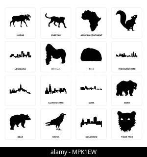 16 Einfache editierbare Ikonen wie Tiger Gesicht, Colorado, Raven, Bär, Elch, Louisiana, Taco für mobile verwendet werden, die Web-UI - Stockfoto