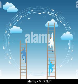 Cloud Computing Konzept Design. Zwei Geschäftsleute steigen die Wolken von der Leiter. - Stockfoto