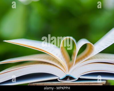 Buch auf dem Tisch im Garten mit top One eröffnet und Seiten die Herzform - Stockfoto