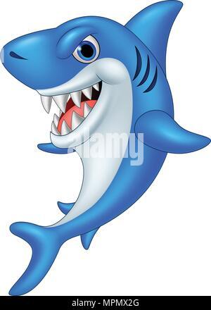 Cartoon freundliche Haifisch Vektor Abbildung - Bild ...