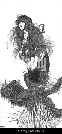"""""""Er war es, der zog sie nach unten', c 1930. Artist: W Heath Robinson. - Stockfoto"""