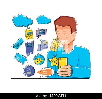 Mann mit Shopping online Symbole Pop Art Stil Vector Illustration Design - Stockfoto