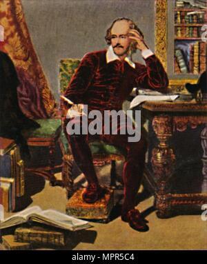 """""""William Shakespeare 1564-1616. - Grafik von J. Faed, 1934. Artist: Unbekannt. - Stockfoto"""