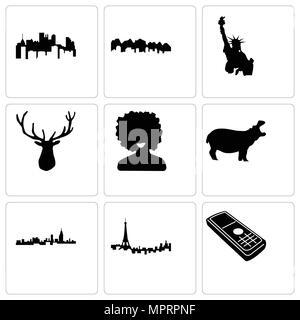Satz von 9 einfache editierbare Symbole wie Handy, Paris, Alabama, Flusspferd, Afro, elk Kopf, Freiheitsstatue, New Jersey, Pennsylvania, kann verwendet werden für - Stockfoto