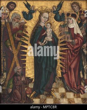 Jungfrau und Kind mit Heiligen Andreas, Hedwig von Schlesien, Johannes der Täufer und Johannes der Evangelist, Stani - Stockfoto