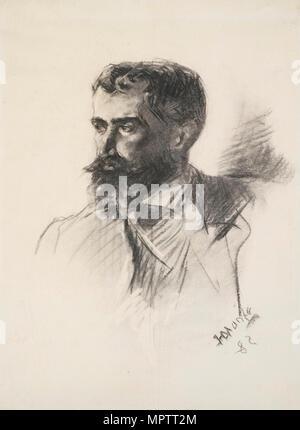 Portrait von Graf Alphonse Charles de Toulouse-Lautrec-Monfa (1838-1913). - Stockfoto