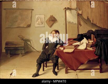 Innenraum der ein Zimmer mit einem jungen Mann an einem Tisch, 1628 sitzt. Artist: Jan Davidsz de Heem. - Stockfoto