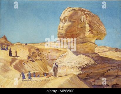 Die große Sphinx, die Pyramiden von Gizeh, 1854. Artist: Thomas Seddon. - Stockfoto