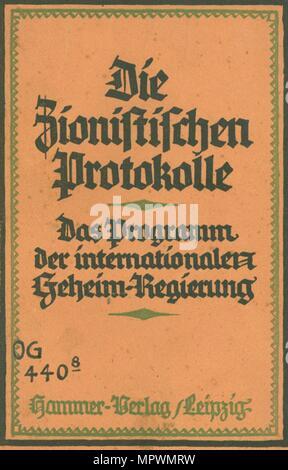 Die zionistischen Protokolle: das Programm des Internationalen geheime Regierung von Theodor Fritsch, 1924. - Stockfoto