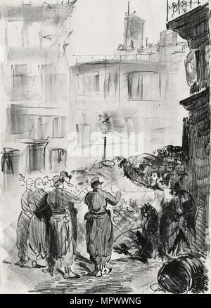 Die Barrikade, 1871. - Stockfoto