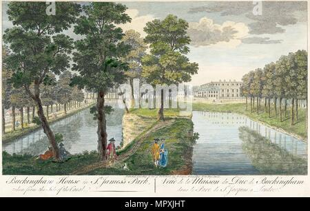 'Buckingham Palace, St. James Park', London, 1750. Artist: Unbekannt. - Stockfoto
