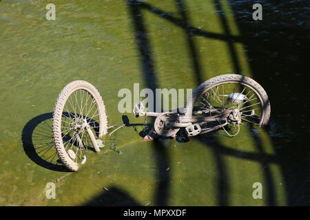 Alte verworfen Fahrrad halb liegend im Schlamm an der Seite des Flusses Lune unter der Millennium Bridge in Lancaster abgedeckt. - Stockfoto