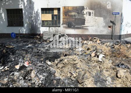 25. Mai 2018, Deutschland, Dresden: Blick auf den Ort, an dem ein WW2 Bombe im Stadtteil Loebtau gefunden wurde. Es war in einer 48 h-Betrieb entschärft am 24. Mai. Foto: Sebastian Kahnert/dpa-Zentralbild/dpa - Stockfoto