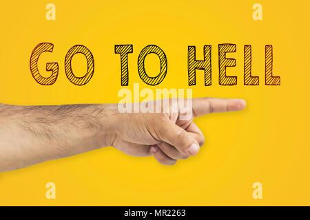 Zur Hölle Konzept gehen. Hand, die den Weg in die Hölle. Finger, der die Richtung der Hölle