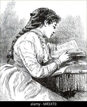 Abbildung zeigt eine junge Frau, die in ein Buch vertieft. Vom 19. Jahrhundert - Stockfoto
