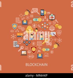 Digitale vektor Zeile für Symbole blockchain pack Abbildung mit Elementen für cryptocurrency eingestellt - Stockfoto