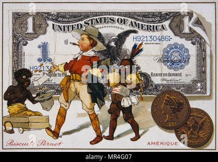 Französische Postkarte von 1900, das eine Amerikanische Cowboy, gefolgt von einem Indischen und Adressierung ein Neger Boy. Satz gegen einen Dollar Banknote - Stockfoto