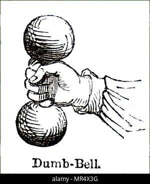 Abbildung: Darstellung einer frühen Hantel, eine Art der freien Gewicht, ist ein Stück der Ausrüstung im Kraftsport eingesetzt. Vom 19. Jahrhundert - Stockfoto
