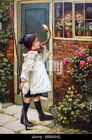 Gemälde der Darstellung eines Jungen weht ein Horn außerhalb seines Hauses, als er junge Geschwister aus dem Fenster beobachten. Vom 20. Jahrhundert Stockfoto