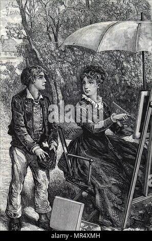 Abbildung: Darstellung einer jungen Frau Malerei unter dem Schatten von Ihrem Schirm. Vom 19. Jahrhundert - Stockfoto