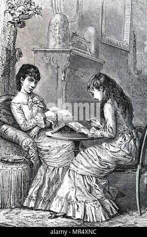 Abbildung: Darstellung einer jungen Frau Malerei in Ihrer Zeitschrift. Vom 19. Jahrhundert - Stockfoto