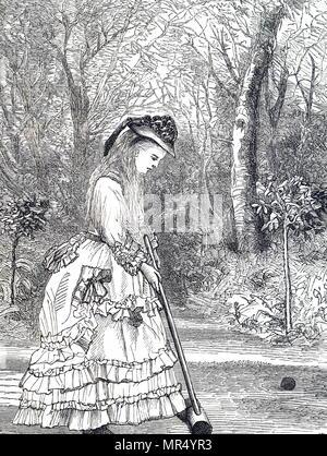 Abbildung zeigt eine junge Frau spielen croquet. Vom 19. Jahrhundert - Stockfoto