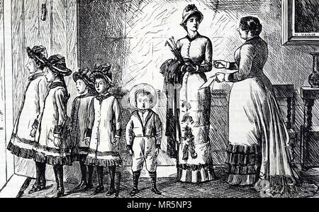 Cartoon Darstellung einer Mutter mit ihrer Brut. Mit Ill. von George Du Maurier (1834-1896) eine französisch-britische Zeichner und Autor. Vom 19. Jahrhundert - Stockfoto