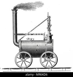 Dampflok Des 19 Jahrhunderts Gravur Stockfoto Bild