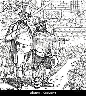 Cartoon, ein Gentleman mit dem Gärtner im Gemüsegarten. Mit Ill. von George Du Maurier (1834-1896) eine französisch-britische Zeichner und Autor. Vom 19. Jahrhundert - Stockfoto
