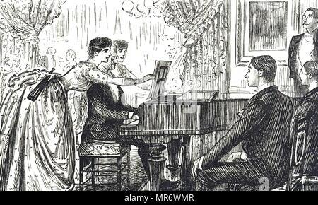 Cartoon, der einen musikalischen Abend zu Hause. Mit Ill. von George Du Maurier (1834-1896) eine französisch-britische Zeichner und Autor. Vom 19. Jahrhundert - Stockfoto