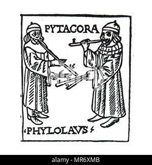 Holzschnitt Kupferstich, Pythagoras hier mit String gezeigt und wind Musikinstrumente. Pythagoras war eine Ionische griechische Philosoph und dem gleichnamigen Gründer der Pythagoreanism Bewegung. Vom 15. Jahrhundert - Stockfoto