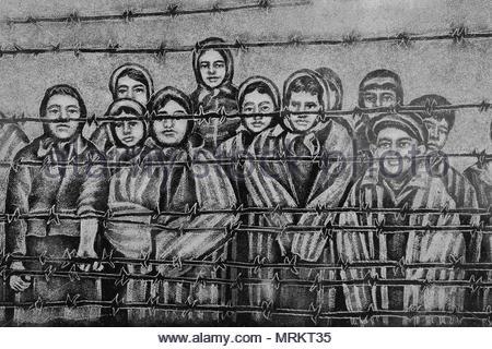 Radierung zum Holocaust-mahnmal in Toronto, Kanada, das die Kinder, die die Auschwitz-Birkenau Konzentrationslager überlebt. - Stockfoto