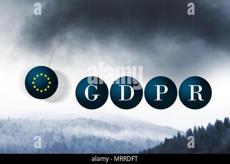 Die dunklen Wolken des BIPR nähern. Konzeptionelle Bild illustriert das bipr Verordnungen über Newtons Wiege in einem negativemanner - Stockfoto
