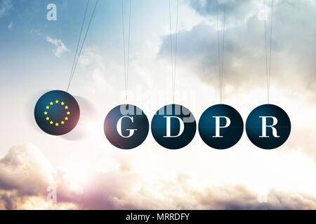 Die Morgendämmerung des BIPR Ära hat in Bewegung gesetzt. Konzeptionelle Bild illustriert das bipr Verordnungen über Newtons Wiege in einer positiven Weise - Stockfoto