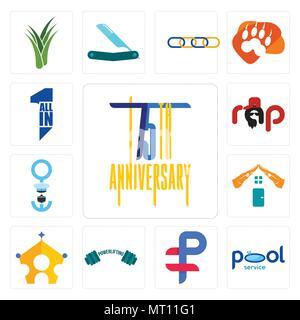 Satz von 13 Einfache editierbare Ikonen wie 75. Jahrestag, Pool Service, Ruble, Powerlifting, der königlichen Familie, realestate, Seemann, Rap, all-in-one werden kann - Stockfoto