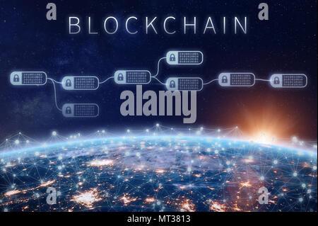 Finanzielle blockchain Technologie Konzept mit Netzwerk verschlüsselter Kette der Transaktion zu blockieren um Planet Erde, cryptocurrency Ledger (Bitcoi verbunden - Stockfoto