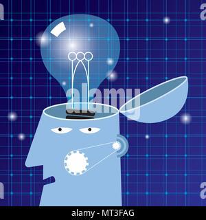 Künstliche Intelligenz Konzept Design, Lampe im Gehirn - Stockfoto
