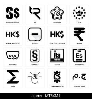 16 Einfache editierbare Ikonen wie Ägyptische Pfund, Kanadischer Dollar,, Sigma, Einsteinium, Singapur hong kong Entfroster-, Währung kann verwendet werden für - Stockfoto