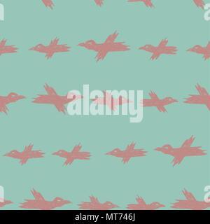 Vektor nahtlose Cartoon Muster mit rosa Skizze Krähen auf Blau - Stockfoto