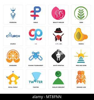 16 Einfache editierbare Symbole wie orange Lion, muslimische Halbmond, Twister, königlichen Familie, Rise and Shine, Poseidon, Kirche, Mandarin, ächtet können b - Stockfoto