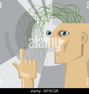 Künstliche Intelligenz Konzeption, Reben wachsen im Gehirn. - Stockfoto