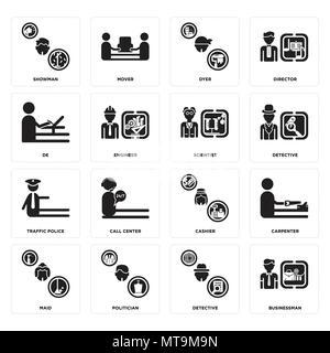 16 Einfache editierbare Ikonen wie Geschäftsmann, Detektiv, Politiker, Zimmermädchen, Tischler, Showman, De, Verkehrspolizei, Wissenschaftler kann für Mo verwendet werden. - Stockfoto