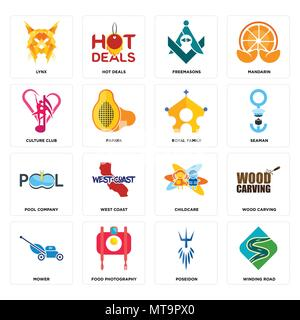 16 Einfache editierbare Ikonen wie kurvenreiche Straße, Poseidon, Foodfotografie, Mäher, Holzschnitzerei, Lynx, Culture Club, Pool, königliche Familie - Stockfoto