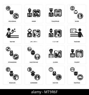 16 Einfache editierbare Ikonen wie Postman, Arzt, Gärtner, Magier, Touristische, Polizist, Kellner, Stewardess, Klempner für mobile, w verwendet werden - Stockfoto