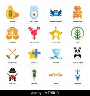 16 Einfache editierbare Ikonen wie Poseidon, Maya, stellar, ächtet, panda Maskottchen, Papaya, Mandarin, streetbrush, königlichen Familie kann für m verwendet werden. - Stockfoto